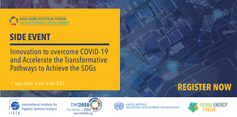 Side Event at the High-level Political Forum: Innovation to Overcome COVID-19 and Accelerate the Transformative Pathways to Achieve the SDGs, 7 July 2020