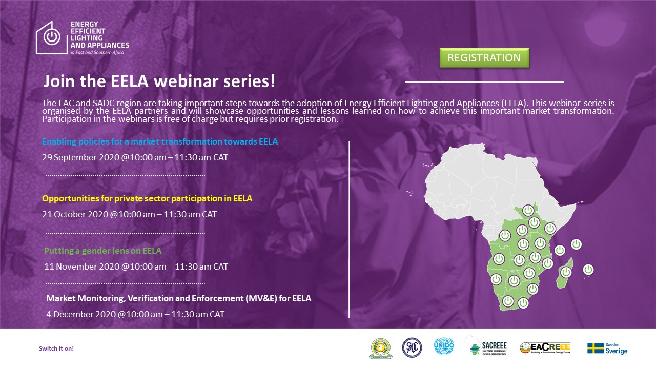 Webinar series on energy efficient lighting and appliances in Southern and Eastern Africa